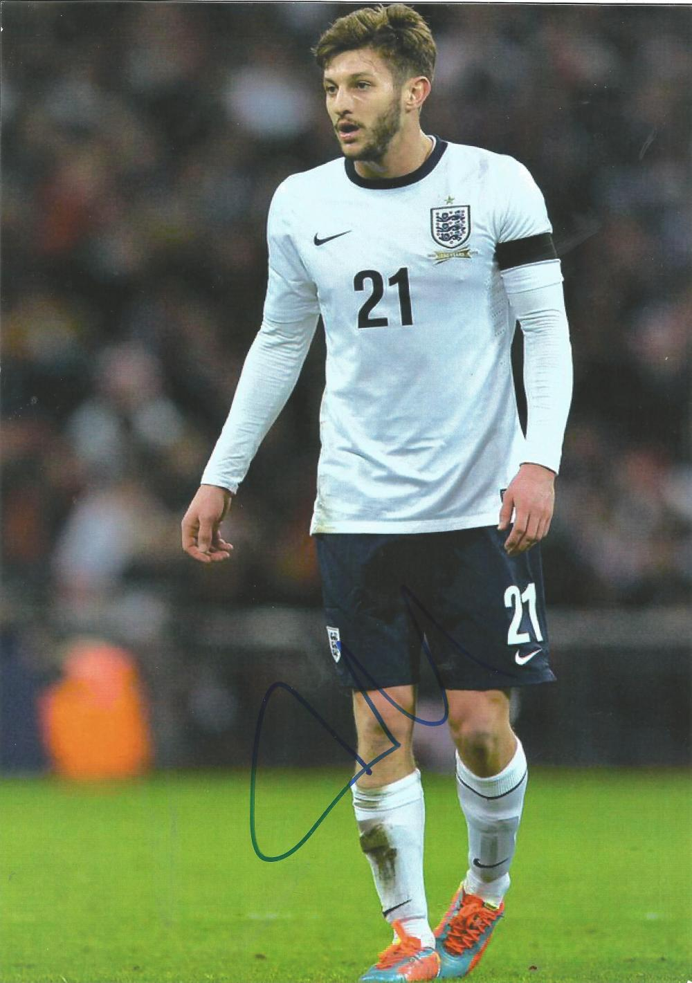 Football Adam Lallana signed 12x8 colour photo pictured while playing for England. Good condition.