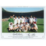 Football. Billy Bonds and Trevor Brooking Signed 16x12 colour photo. Autographed editions, Limited