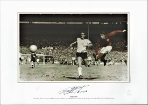 Football, Sir Geoff Hurst signed 12x16 colourised photograph picturing Hurst scoring the famous