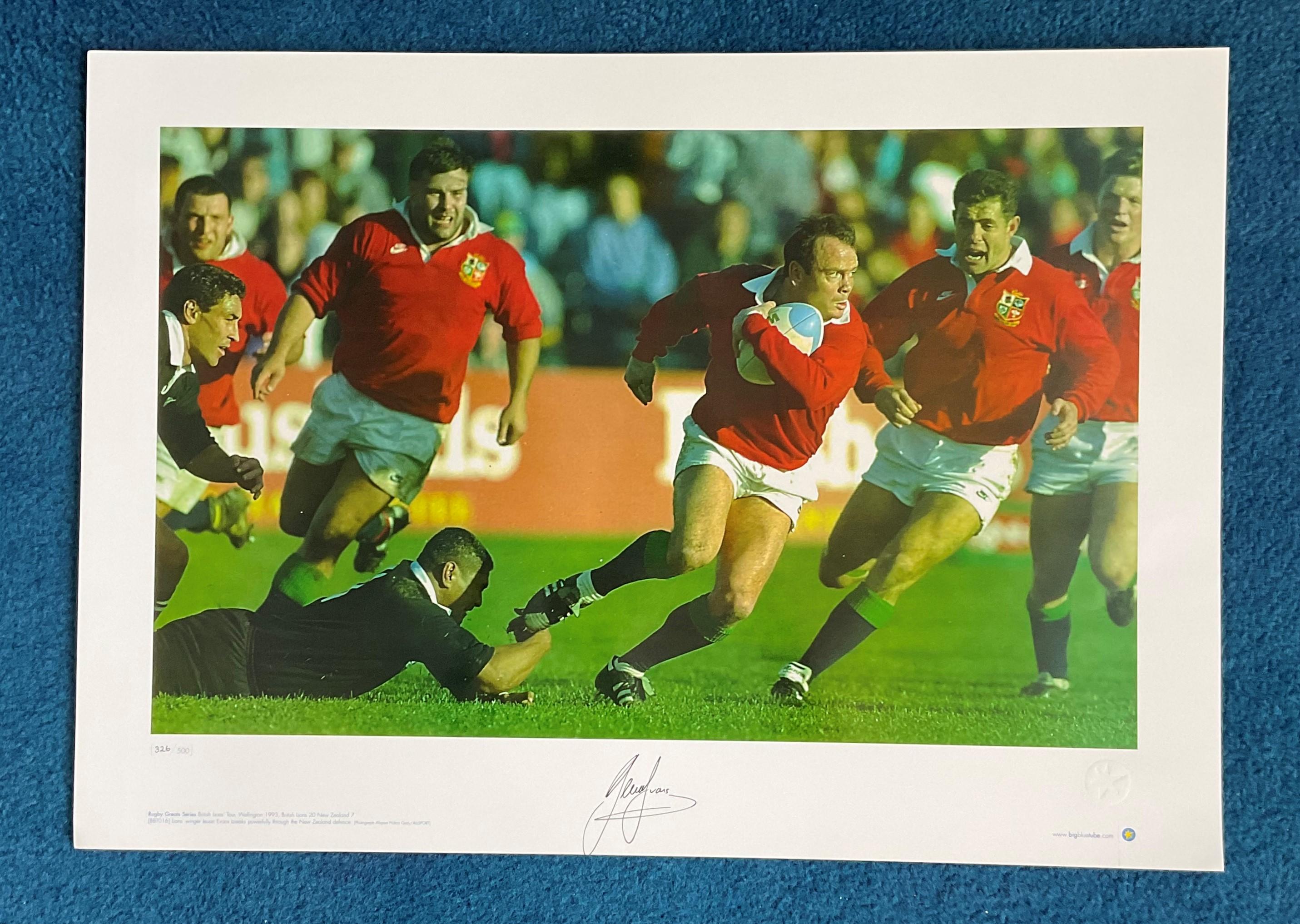 Ieuan Evans signed 22x16 Rugby Great Series Big Blue Tube Colour print British Lions Tour Wellington