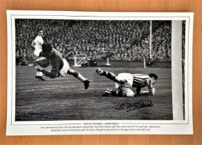 Football, Peter McParland signed 12x18 black and white photograph picturing him in action for