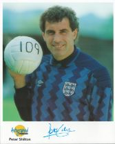Football. Peter Shilton Signed 10x8 Autographed Editions page. Bio description on the rear. Photo