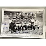 Football, Manchester United multi signed 12x18 black and white photograph pictured for the first