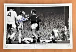 Football, Nobby Stiles signed 12x18 black and white photograph pictured during his time playing