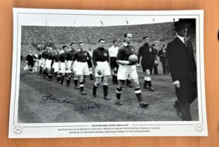 Football, Johnny Morris and Jack Crompton signed 12x18 black and white photograph picturing