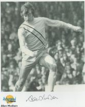 Football. Alan Hudson Signed 10x8 Autographed Editions page. Bio description on the rear. Photo
