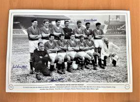 Football, Jack Crompton, Alex Dawson, Ronnie Cope multi signed 12x18 black and white photograph