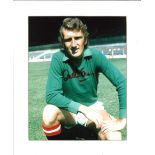 Football Alex Stepney signed 12x10 mounted colour photo pictured during his playing days with