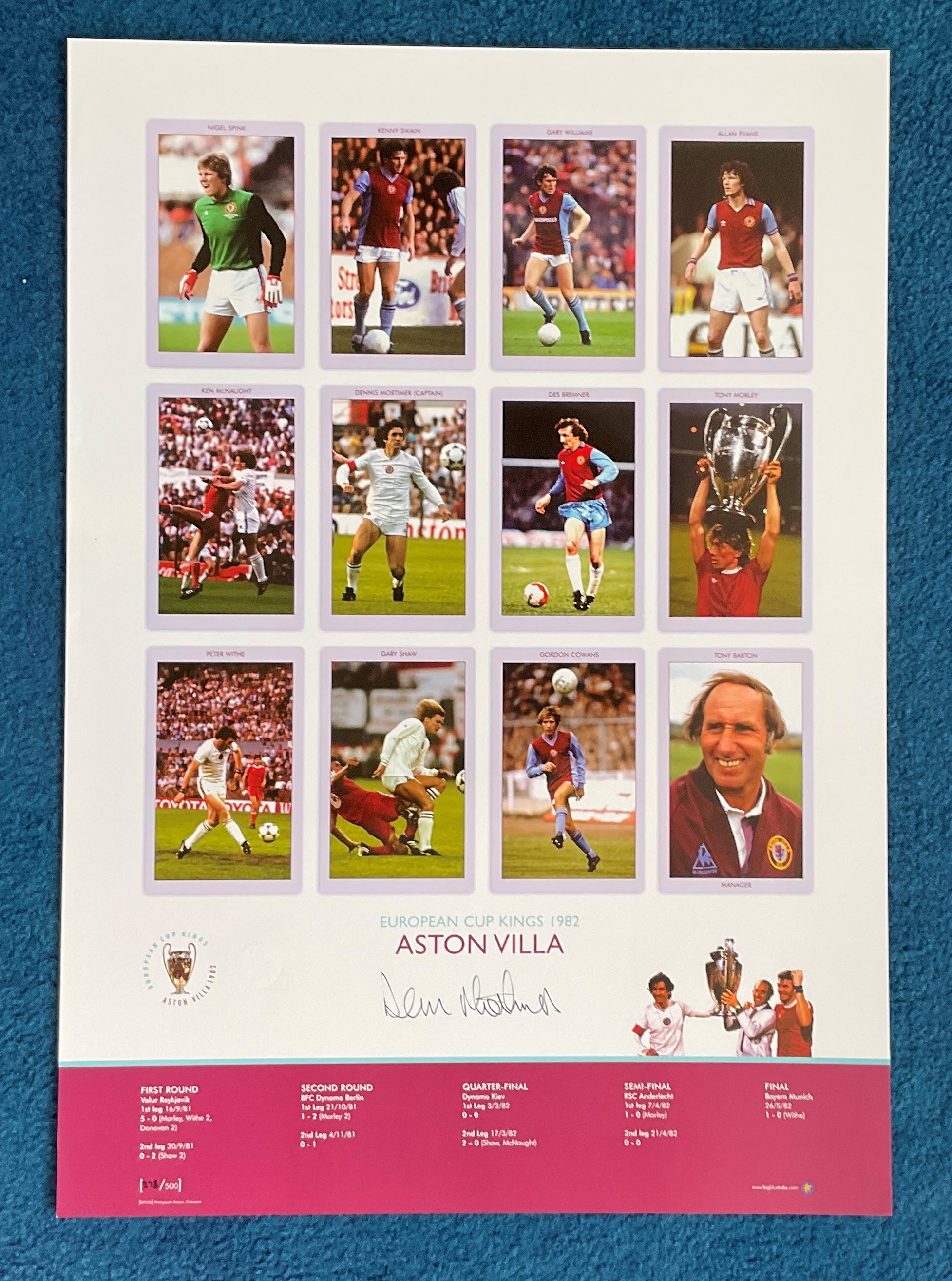 Dennis Mortimer signed 22x16 European Cup Kings 1982 Aston Villa Big Blue Tube print. Limited