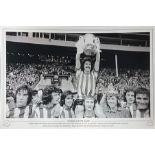 Bobby Kerr signed 16x12 Sunderland 1973 FA Cup black and white print. Captain Bobby Kerr holds aloft
