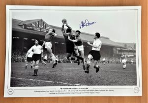 Football, Alex Dawson signed 12x18 black and white photograph pictured during the 1968 match between