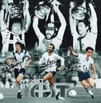 Football. Tottenham Hotspurs FC Steve Perryman, Ricky Villa and Ossie Ardiles Signed 12x12 colour