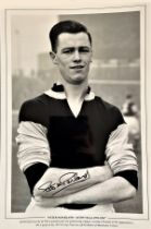 Football, Peter McParland signed 12x18 black and white photograph. McParland was one of Aston Villas