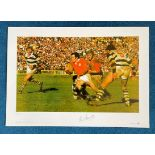 Phil Bennett signed 22x16 Rugby Great Series Big Blue Tube print British Lion Tour 1977. The Wales