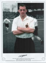 Football. Nat Lofthouse Signed 16x12 black and white photo, Lofthouse is in colour. Autographed