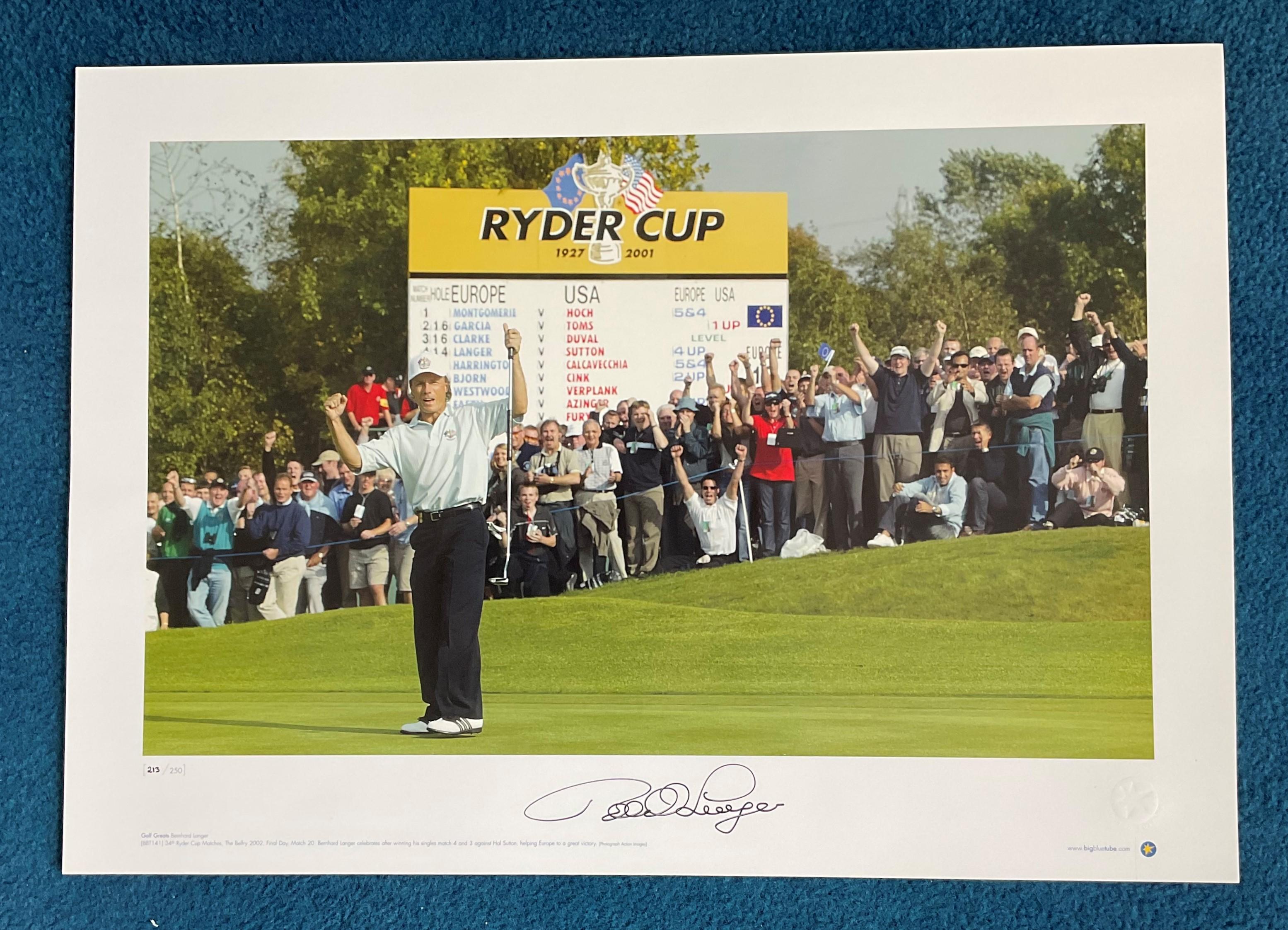 Bernhard Langer signed 22x16 Golf Greats Big Blue Tube colour print Ryder Cup matches The Belfry