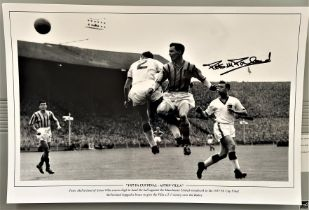 Football, Peter McParland signed 12x18 black and white photograph picturing McParland, playing for