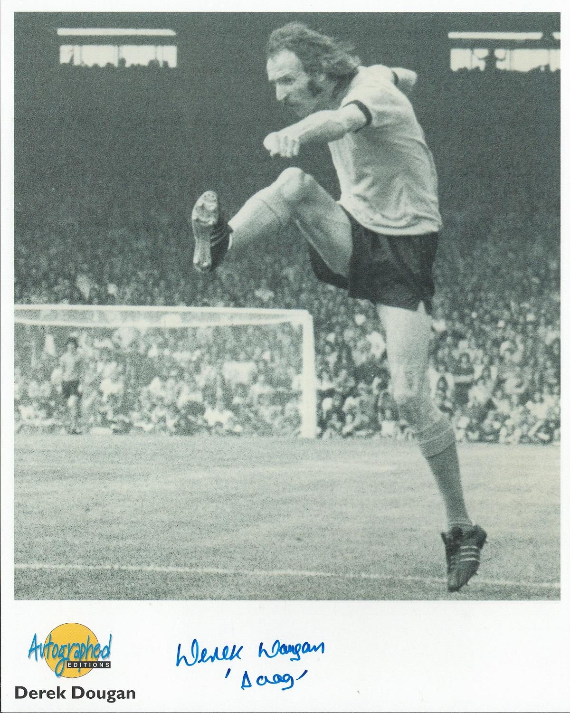 Football. Derek Dougan Signed 10x8 Autographed Editions page. Bio description on the rear. Photo