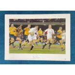 Ben Cohen signed 22x16 Rugby Great Series Big Blue Tube colour print Australia 14 England 25