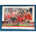 Gareth Thomas signed 22x16 Wales Grand Slam 2005 Big Blue Tube colour print limited edition 500