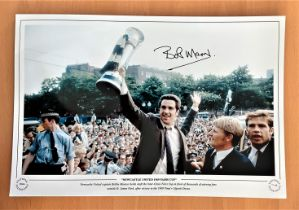 Football, Bobby Moncur signed 12x18 colour photograph pictured as he holds the 1969 Fairs Cup in