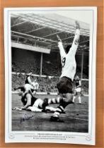 Football, Alex Dawson signed 12x18 black and white photograph pictured as he celebrates scoring