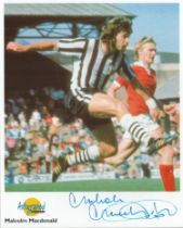 Football. Malcolm Macdonald Signed 10x8 Autographed Editions page. Bio description on the rear.