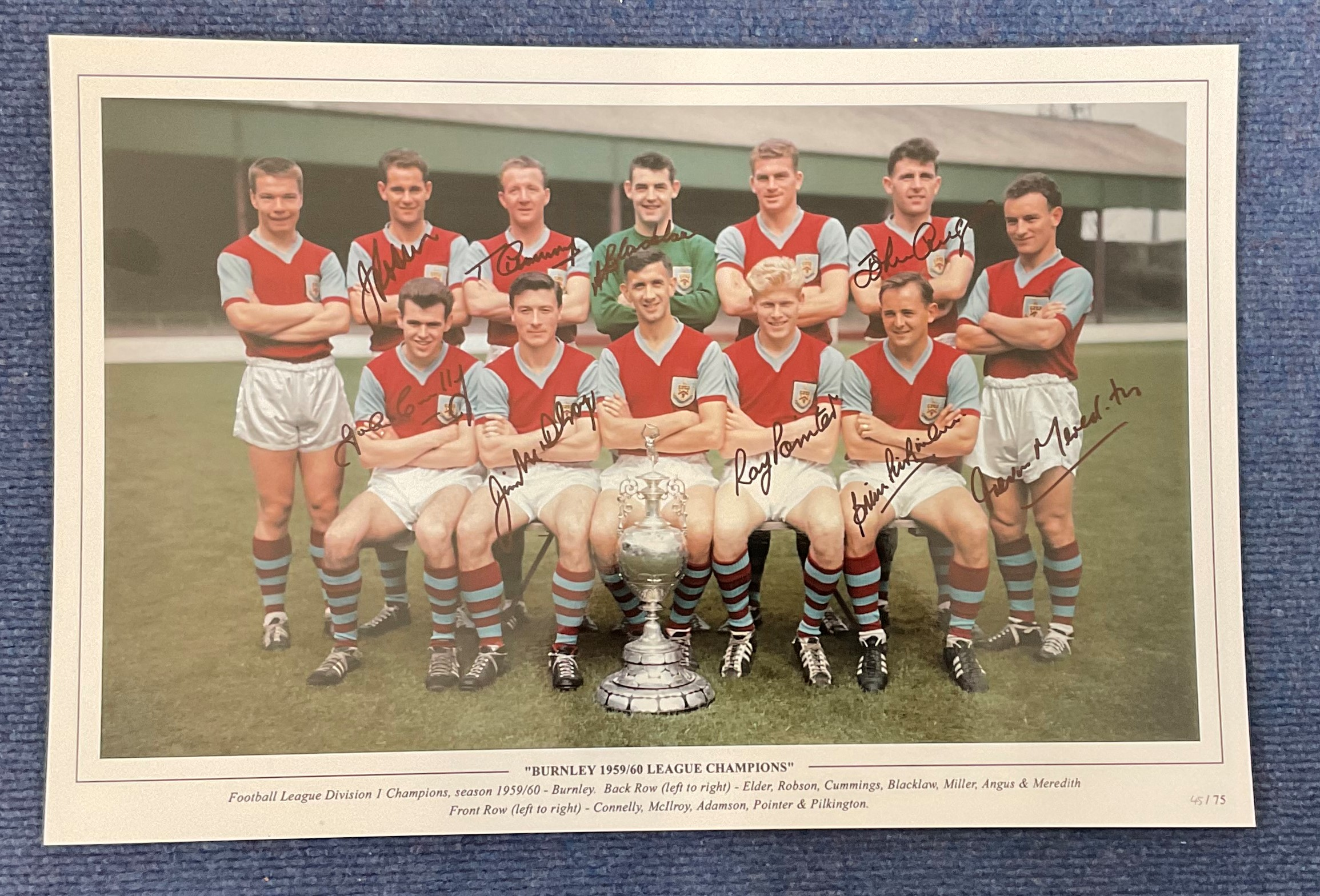 Football. Multi Signed Burnley 1959/60 League Champions 18x12 colour photo. Signed by Robson,
