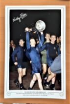 Football, Nobby Stiles signed 12x18 colour photograph pictured as he proudly celebrates with the