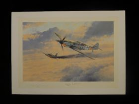 """B3 RARE Robert Taylor """"Knights Cross"""" Limited Edition Print signed by Luftwaffe Ace Oberst Erich"""
