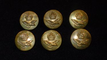 B21 A set of 6 Kings Crown & Flying Eagle WW2 era RAF uniform brass buttons. These brass buttons are