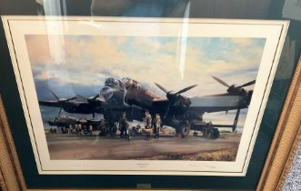 """World War II 34x29 framed and mounted print titled """"Operations On"""" signed in pencil by Sir Arthur"""