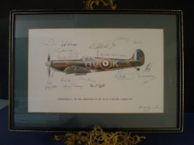 B7 RARE - An early Battle of Britain Museum Appeal Spitfire print signed by 23 RAF pilots who all