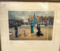 """Air Chief Marshal Sir Neil Cameron Signed Frank Wootton Print. Titled """"Her Majesty The Queen"""