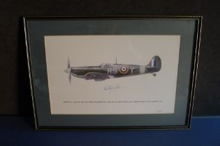 B9 RARE - An early Battle of Britain Museum Appeal Spitfire print signed by Wing Commander Robert '