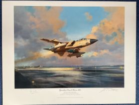 RAF Signed print 22x29. print titled Operation Desert Storm 1991. signed in pencil by the artist
