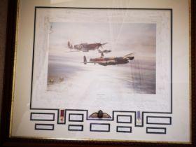 WW2 Robert Taylor's Memorial Flight print Battle of Britain 150 signatures.