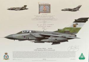 RAF Multi-Signed print 17x12 in size. Tornado GR4A ZA395 12(B) Squadron RAF Lossiemouth print signed