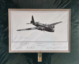 Multi-Signed World War II Print. 20x17 in size, matted. Print titled 'Wellington' Publishers Proof