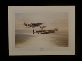 """B1 Rare Robert Taylor """"Memorial Flight"""" Restricted Edition print signed by 3 famous RAF WW2 highly"""