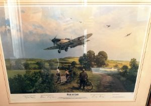 Piece of Cake print by Michael Turner. Signed by Squadron Leader Ginger Lacey DFM, Group Capitan