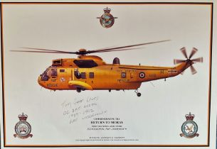 Pilot Tony Gear Signed Print. Titled Commemorating the Return to Moray, Sea King Helicopter.
