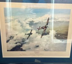 """Adolf Galland and Douglas Bader Signed Robert Taylor Print. Titled """"Duel Of Eagles"""". Also signed"""