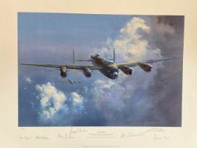"WW2 British RAF ""Lancaster"" By Frank Wootton Ltd Edition Signed Print 794/850. Signed by Leonard"