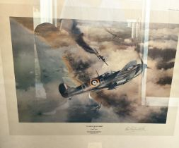 """Robert Stanford-Tuck Signed Robert Taylor Print. Titled """"Victory Over Dunkirk"""". Also signed by the"""