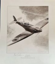 RAF Pilot Alex Henshaw Signed Frank Wootton Print, Titled Sigh Of A Merlin. 19x16 in size. Good