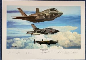 RAF Multi Signed print 19x25. titled Generations of Excellence by the artist Philip E West.