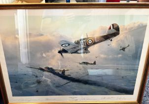 """Multi-Signed Robert Taylor Print. Titled """"Hurricane Force"""". Signed by Peter Townsend, Peter"""