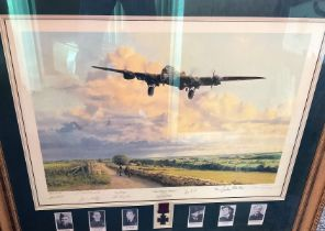 """World War II multi signed 39x34 mounted and framed print titled """"Early Morning Arrival"""" includes"""
