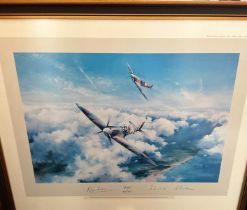 World War II Grp Cpt Douglas Bader and AVM Johnnie Johnson signed Robert Taylor 26x23 mounted and